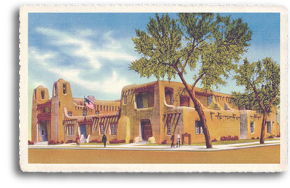 The Museum of Fines Arts is probably the best example of a more modern (yet authentic) Pueblo-Revival style architecture in Santa Fe, New Mexico. This beautiful, historic building sits ajacent to the Santa Fe Plaza.